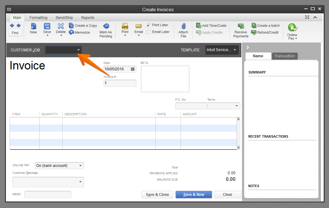 Create Invoice For Customer QuickBooks Help Center Time IQ - Quickbooks invoice status