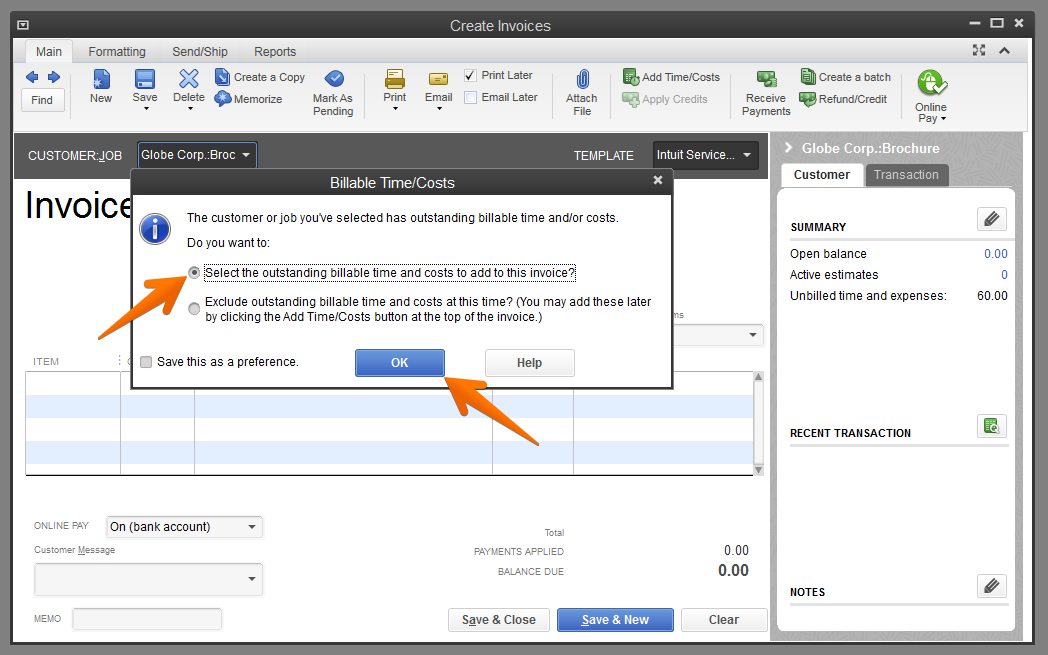 Create Invoice For Customer QuickBooks Help Center Time IQ - Quickbooks electronic invoicing